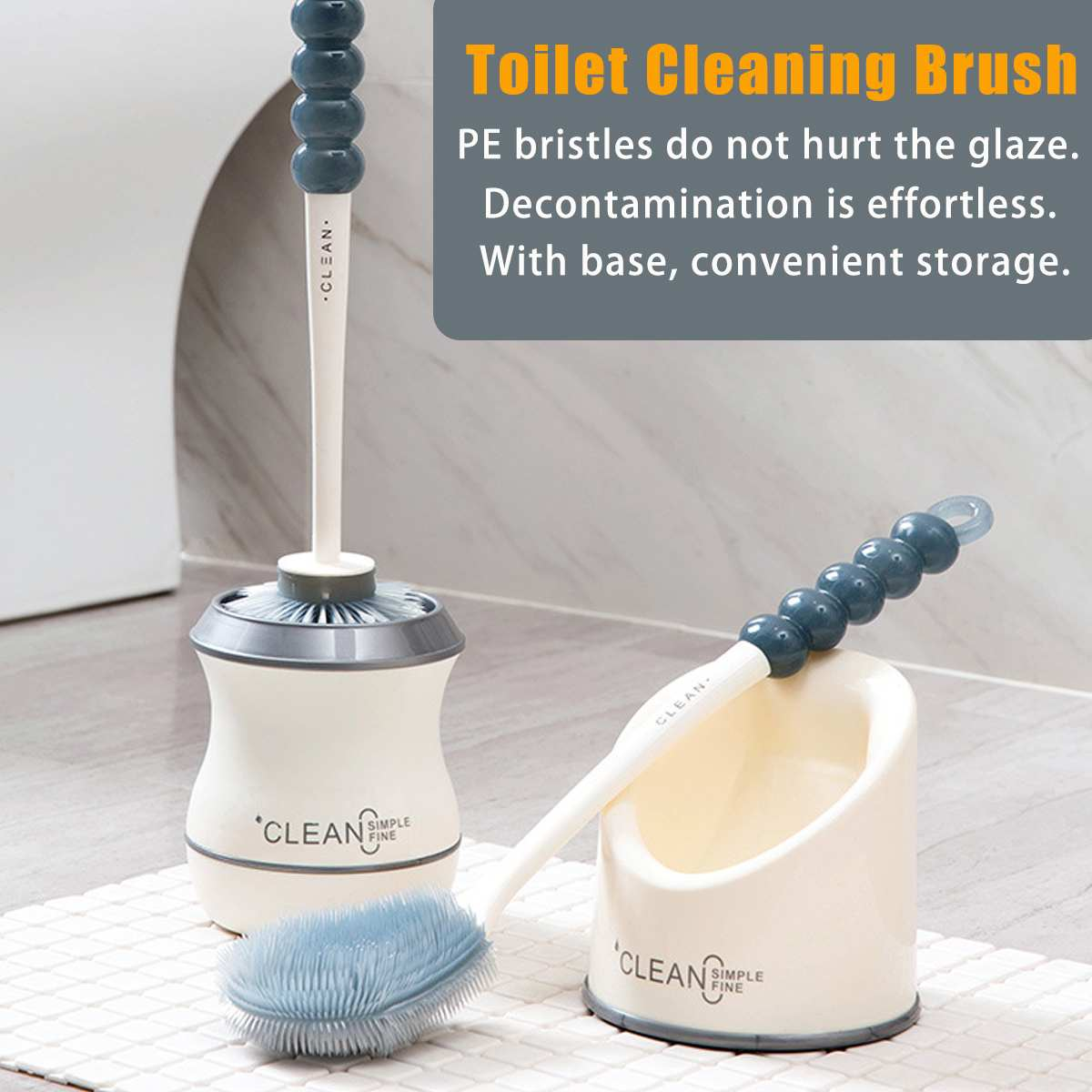 Silicone Soft Bristle Toilet Cleaning Brush Bath Toilet Brush Holder Set Hanging Household Floor Cleaning Tool