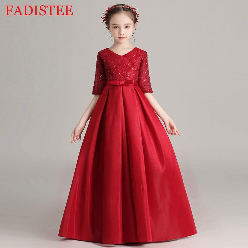 New Style Elegant Satin Flower Girls Dress For Wedding First Holy communion Party Gown платье для девочки Birthday Party Dress
