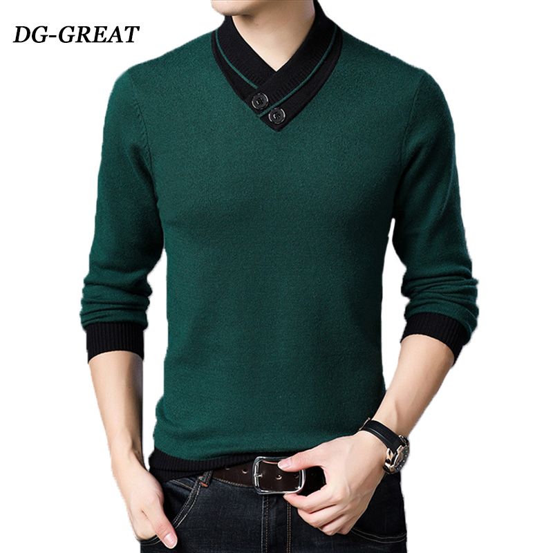 Autumn Winter V-neck Pullover Men Sweater Knitted Shirt Thick Cotton Warm Mens Robe Hombre For Male Sweater Knitted Shirt