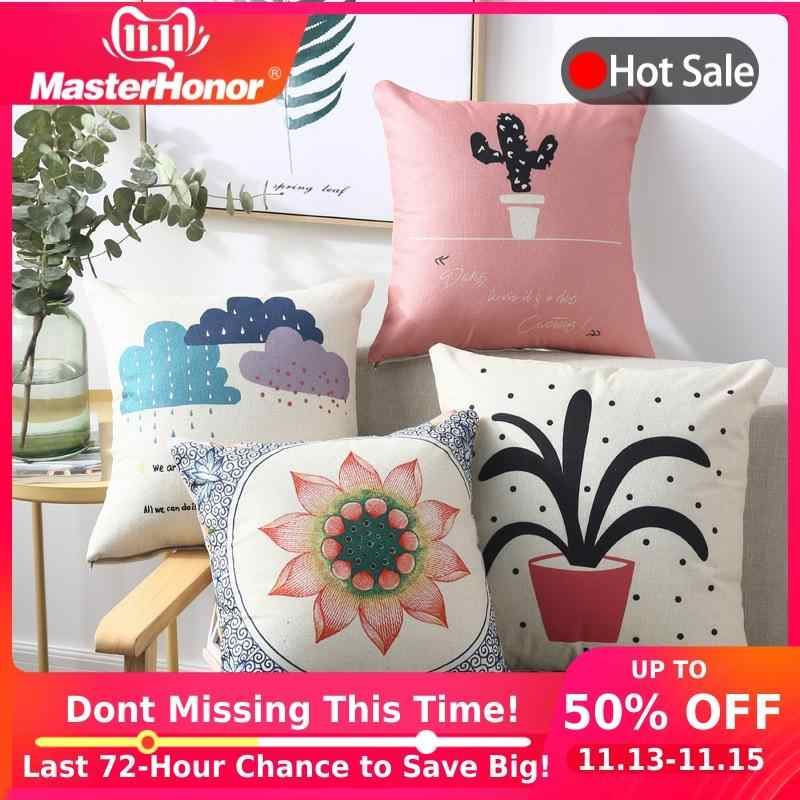 Plant Cushion Cover Decorative Pillow Case 40*40 45x45cm Printed Sofa Seat Case Car Pillowcase Soft Bed Pillow Covers C-BZT01