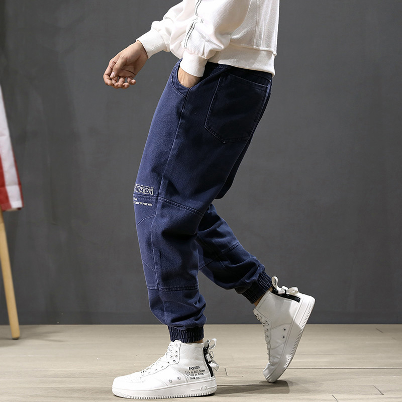 Fashion Streetwear Men Jeans Loose Fit Embroidery Spliced Designer Cargo Pants Harem Jeans Slack Bottom Hip Hop Jogger Jeans Men