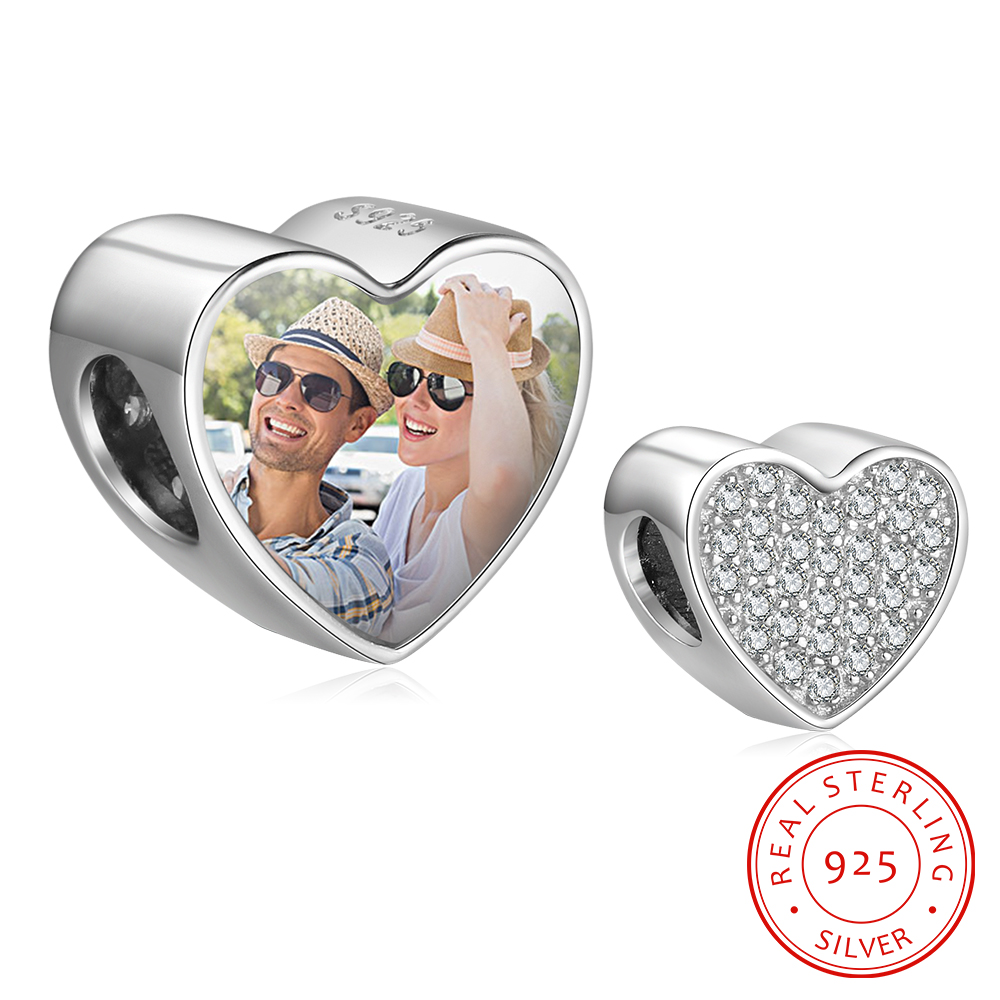 Personalized 925 Sterling Silver Custom Heart Photo Charm Beads With Cubic Zirconia Fit For Bracelets Women DIY Jewelry