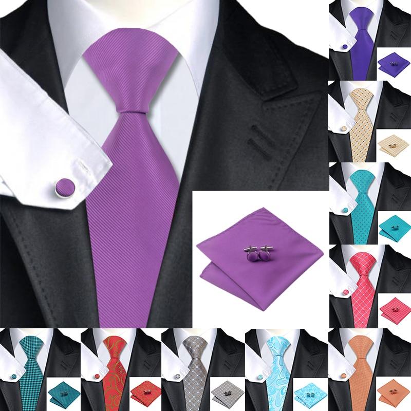 Hi-Tie 10 Styles Silk Ties For Men Handky Cufflinks Set 150cm Large Solid Men's Tie Black Luxury Floral Designer Wedding Necktie