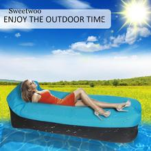 Outdoor Portable Inflatable Bed Sleeping Bag Inflatable Sofa Pillow Flat Inflatable Air Bed Lazy Bag Beach Lounger Air Mattress цена 2017