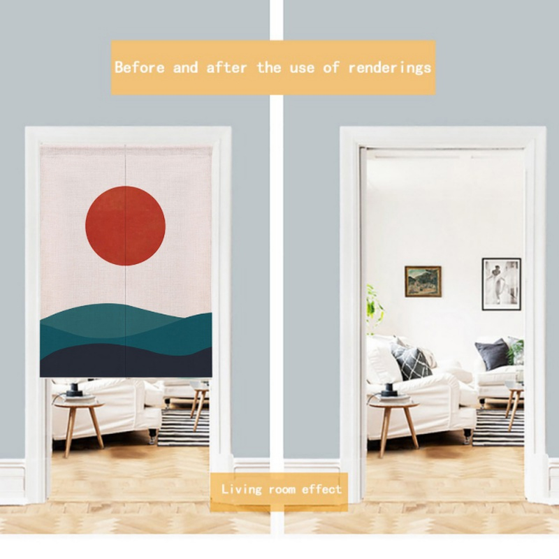 For Home Decoration Sun Design Japanese Style Noren Doorway Curtain Cotton And Linen Printed Hanging Tapestry