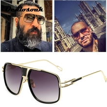 18K Gold Plated Square Men Sunglasses Women Couple Flat Top