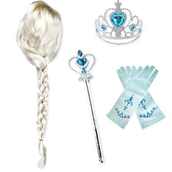 Girls Elsa White Wig Kids Cosplay Snow Queen 2 Elza Anna Braid Children Carnival Halloween Birthday Princess Party Accessories