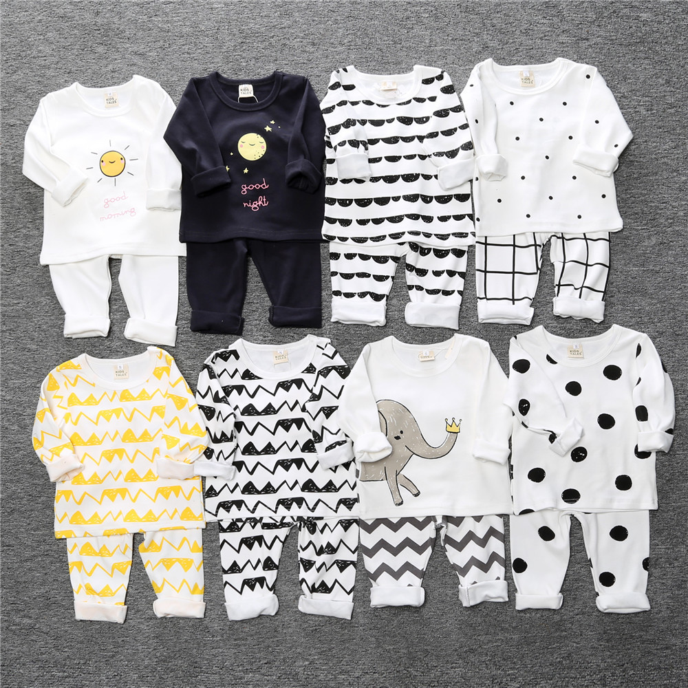 2019 Autumn Winter Baby Pajamas Set Thick Long Sleeve Tee Pant 2Pc Dot Boys Girls Nightdress Clothing