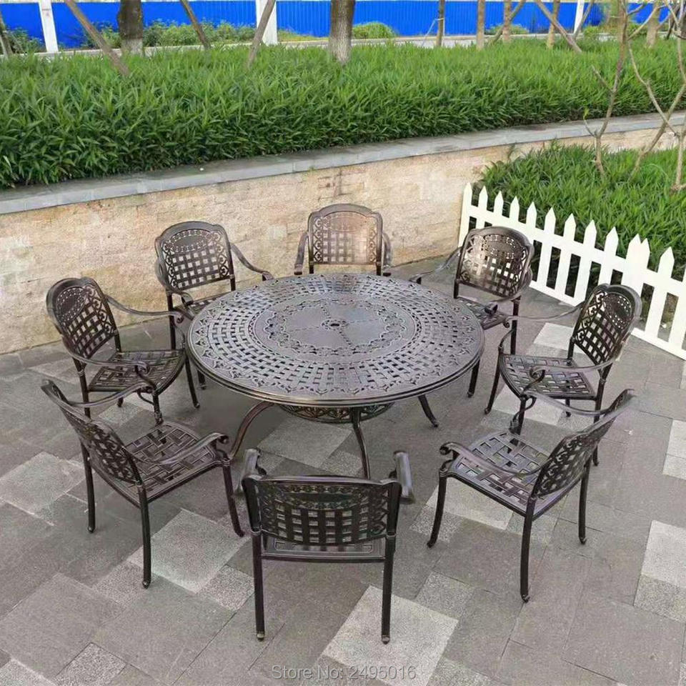 Set of 10-piece cast aluminum patio Outdoor furniture chair and table garden  sets all-weather-anti-rust in bronze color