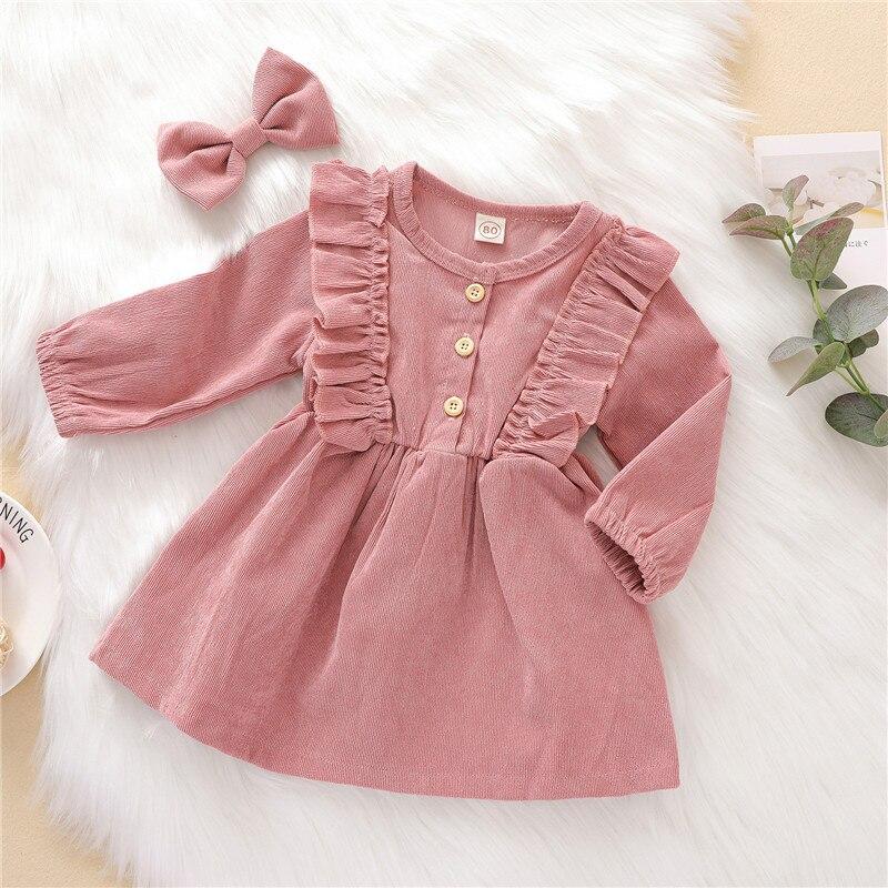 Outono inverno da criança do bebê meninas vestido de manga longa babados princesa vestido crianças veludo plissado moda crianças vestido casual