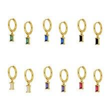925 brincos de argola de prata esterlina para as mulheres branco/preto/verde/roxo cor cz cristal evitar alergia brincos moda jóias