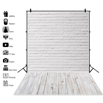 Laeacco Gray White Brick Wall Wooden Floor Baby Pet Cake Smash Portrait Photography Backdrop Photocall Photo Background Studio laeacco happy easter day flags chick haystack brick wall home decor scene photography backdrop photo background for photo studio