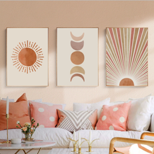 Impresiones en lienzo de paisaje abstracto bohemio para decoración del hogar, carteles de imágenes artísticas de pared para el sol y la luna, sin marco