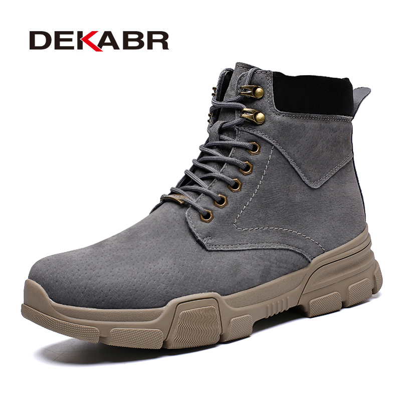 DEKABR Autumn Winter Men's Boots Classic Fashion Cow Suede Ankle Boots For Men Unisex Snow Boots Work Shoes Size 35-44