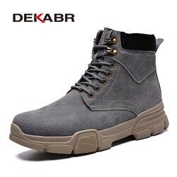 Dekabr outono inverno botas masculinas clássico moda vaca camurça tornozelo botas para homem unisex botas de neve sapatos de trabalho tamanho 35-44