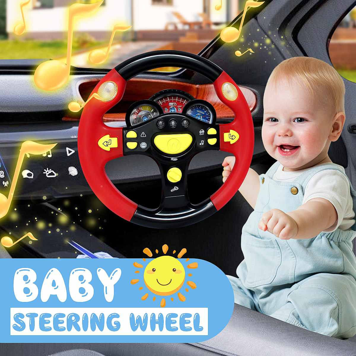 Children's Toy Simulation Steering Wheel With Light Copilots Pretend Play Driver  Early Education Sound Toy Baby Kids Gift