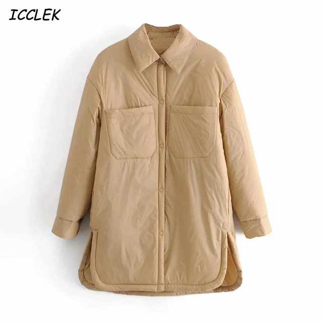 Za Women's Jackets Oversize Parkas Thin Coats Khaki Shirt Coat Long Femme BF Long Sleeves Big Pockets Outerwear Mujer Large Coat 1