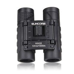 Novo-suncore caça bolso binóculos hd 10x22 binóculos telescópio profissional zoom visão leve preto