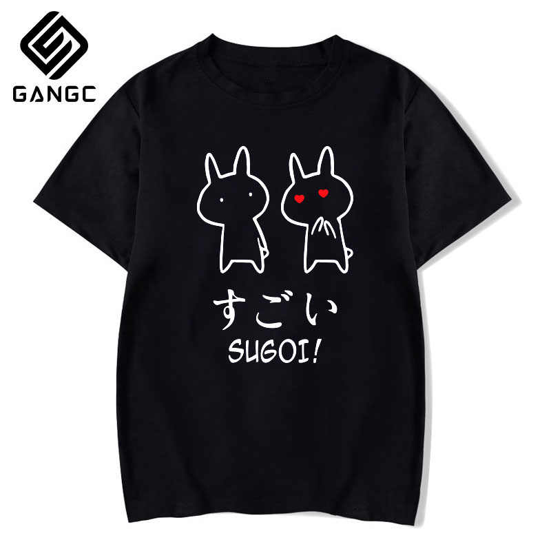 バカウサギ日本友人のカップル tシャツ夏の女性の黒 tシャツ原宿ストリートメンズ服アニメ綿シャツ