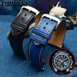 Image 4 - Bracelet de rechange Citizen AT8020 JY8078, en cuir véritable, 23mm, bleu bracelet de montre, avec bracelet à boucle pliable