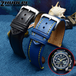 Image 4 - For Substitute Citizen AT8020 JY8078 wristband genuine leather strap 23mm blue Watch Band with folding buckle bracelet