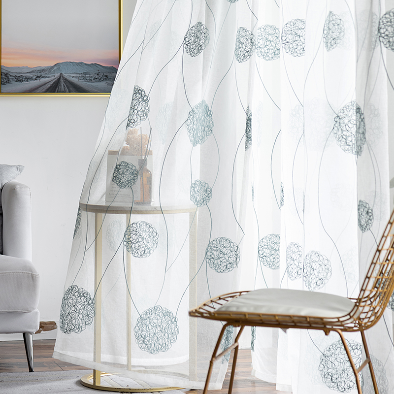 Korean White linen Embroidered Voile Curtains for bedroom window
