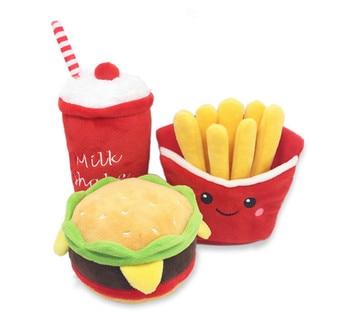 usd2.98/pc pet dog puppy playing toys plush milk shake hamburger fried chips sound toy squeaker toys 20pcs/lot