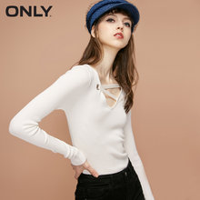 ONLY autumn new slimming cross hollow-out-out light long-sleeved sweater | 118324581(China)