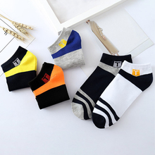 купить 5pairs/lot Fashion Cotton Socks Men Stripe Short Funny Socks Ankle Soft Casual Sock Calcetines Meias дешево
