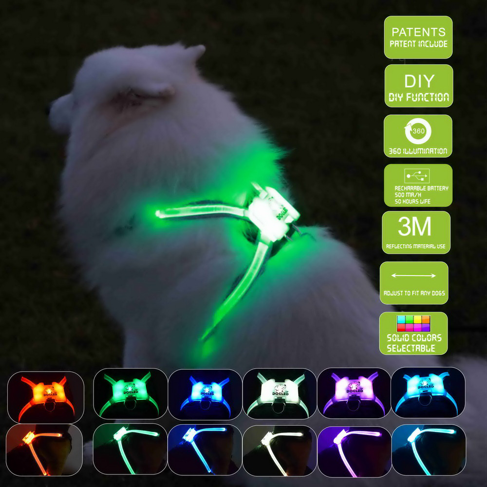 waterproof charging dog accessories for large  Reflective Harness for Dogs safety led dog collar