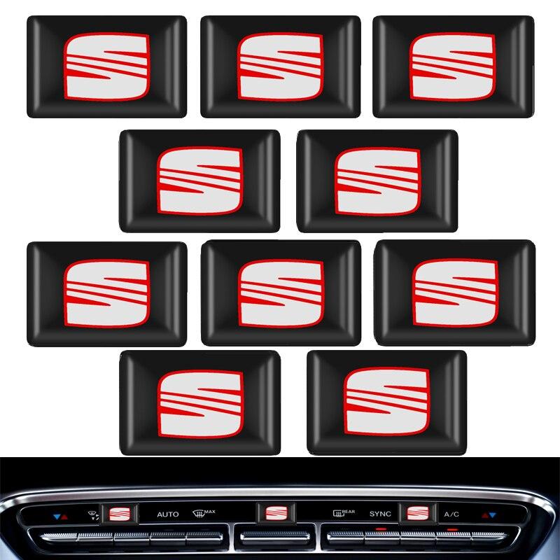 10pcs Steering Wheel 3D Car Sticker Flags Emblem Decal Decorating For Seat Leon Iniza Cushion Arona Heater Ateca Accessories