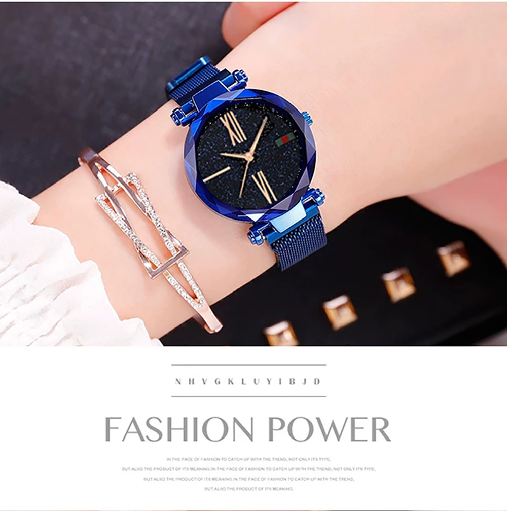 Luxury Minimalism Starry sky Magnet Rose Gold Women Watches 14