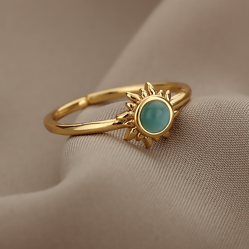 Vintage Opal Rings For Women Stainless Steel Sun Rings Moonstone Ring Two Colors Accessories Jewelry Gift Best Friend Mom Bijoux