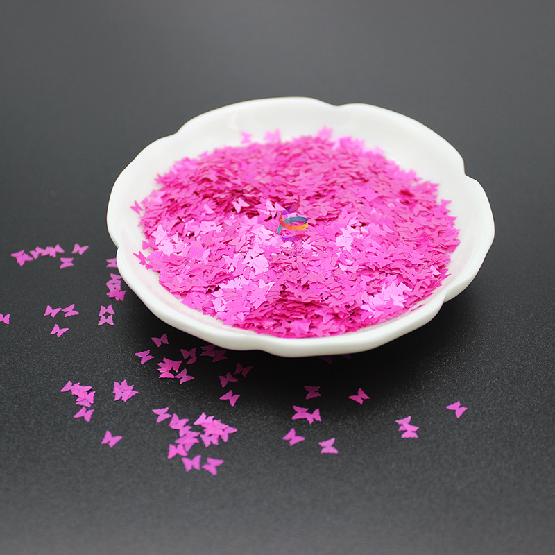 1kg /bag Solvent-Resistant Pearly Lustre Butterfly Glitter High Temperature Resistant Leather Sequin Environmental Makeup Pink