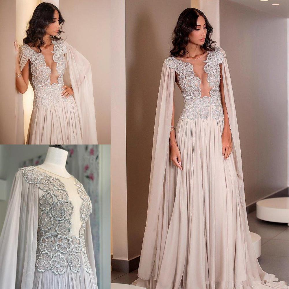Modern Chiffon Prom Dresses With Wrap Lace Appliques Sweep Train Plus Size Formal Mother Evening Occasion Gowns 2019 Prom Dress