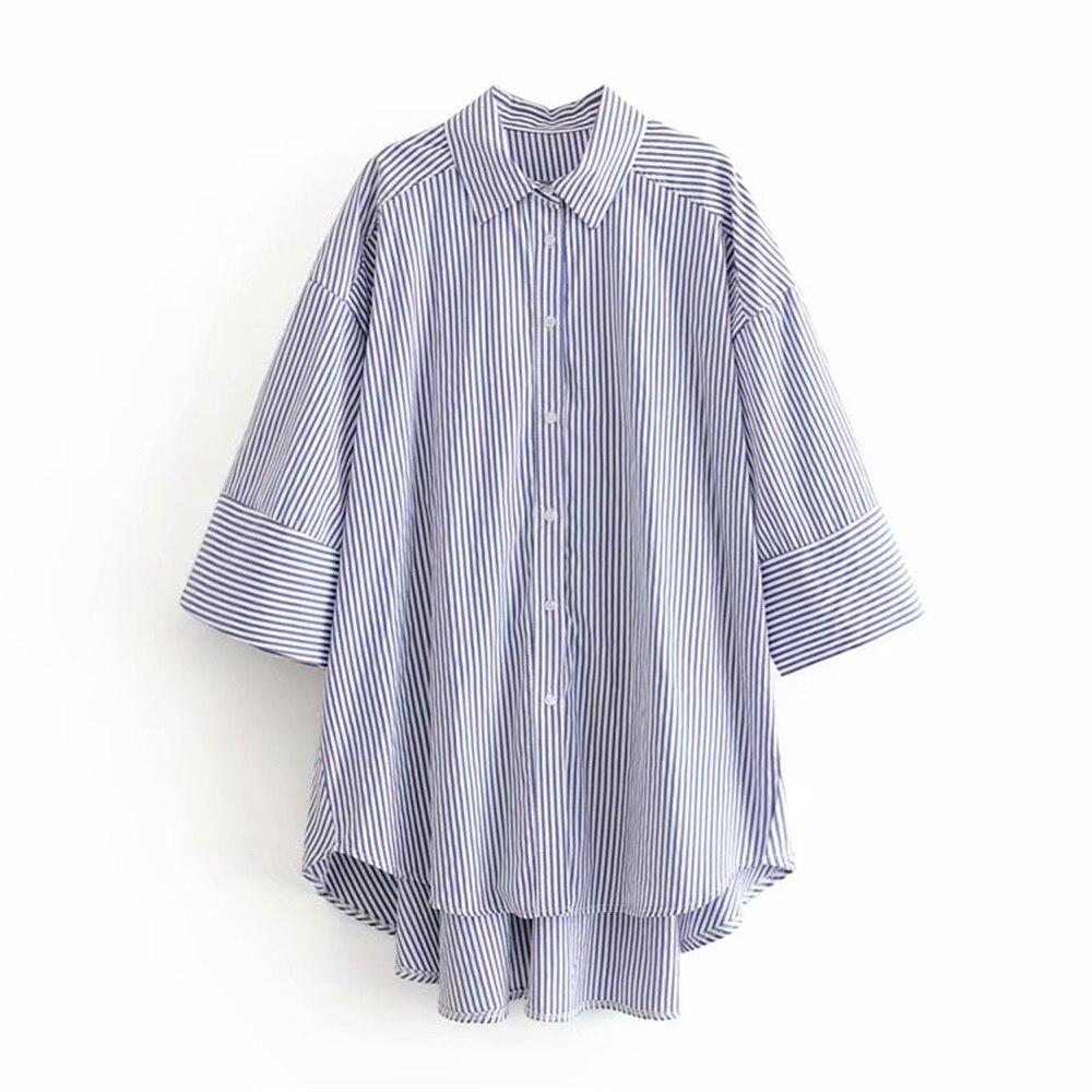 Autumn 2019 Women's Wear New Turn-over Collar Seven-Sleeve Unsymmetrical Stripe Loose Casual Shirt 07901104403
