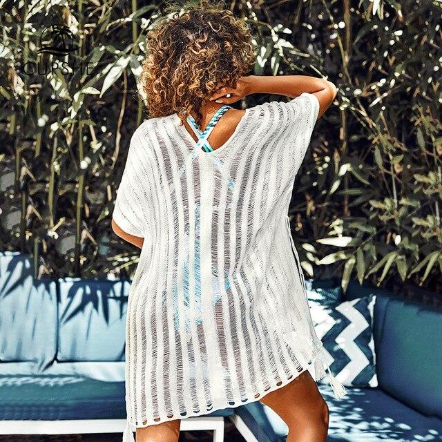 CUPSHE Pink / White Crochet Tassels Cover Up Sexy Cut out V-neck Side-tie Women 2020 Summer Beach Dress Bathing Suit Beachwear 5