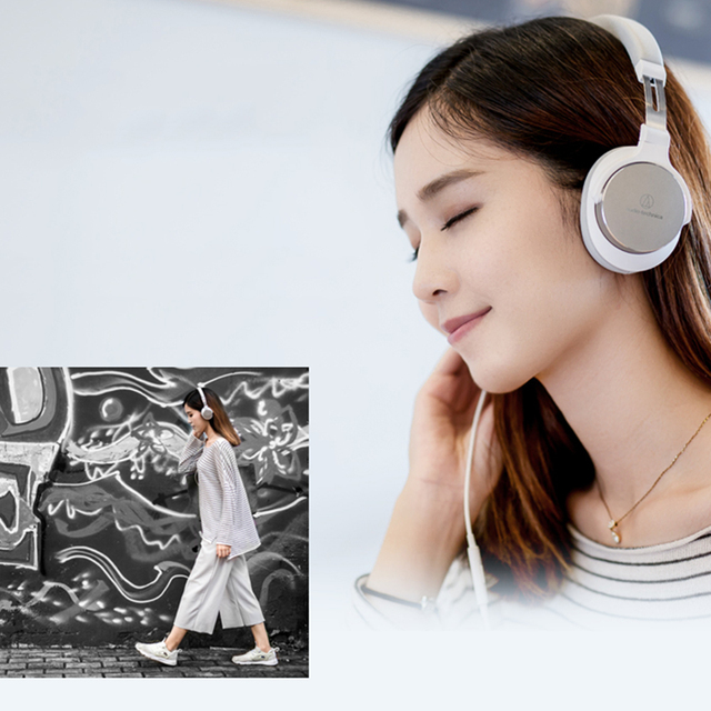 Original Audio Technica SR5 Wired Headphone Foldable Portable Sports Game Headset HD Sound Earphone 1-button Remote with Mic 5