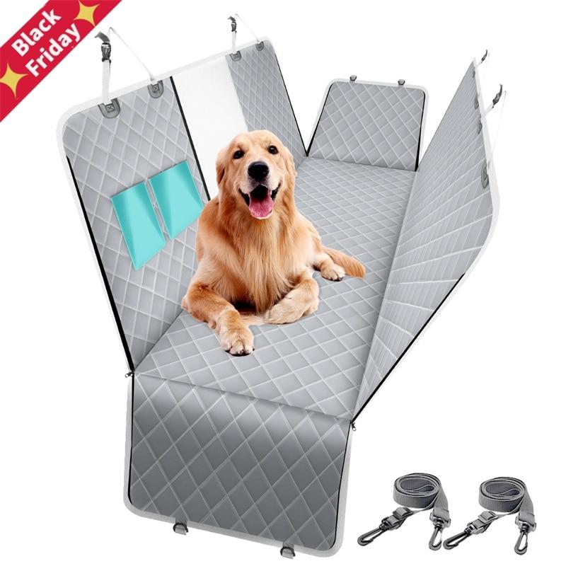 Dog Carrier Car Back Seat Cover 100% Waterproof Pet Cat Travel Mat Mesh Folding Hammock Cushion Protector With Zipper Pocket