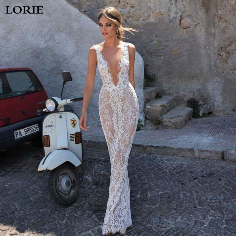 LORIE Lace Mermaid Wedding Dress 2019 Vestidos De Novia Sexy Back Split Sexy V Neck Boho Bridal Dresses Wedding Gowns