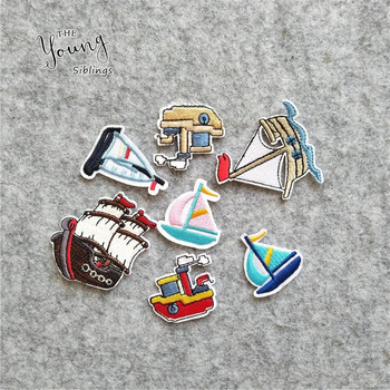 7pcs Different style Patches Embroidered Cartoon Boats Sewing Appliques DIY Children Clothes Sticker