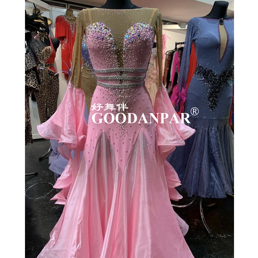 GOODANPA Ballroom Dance Competition Dresses Women Ballroom Dress Performance Dance Dresses  Pink  Japanese Fabric