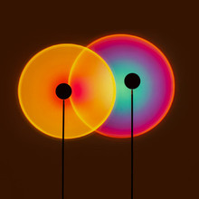 Rainbow Sunset Projector Atmosphere Button Background Wall Decoration Projected Lamp Home Coffe Shop Colorful Light