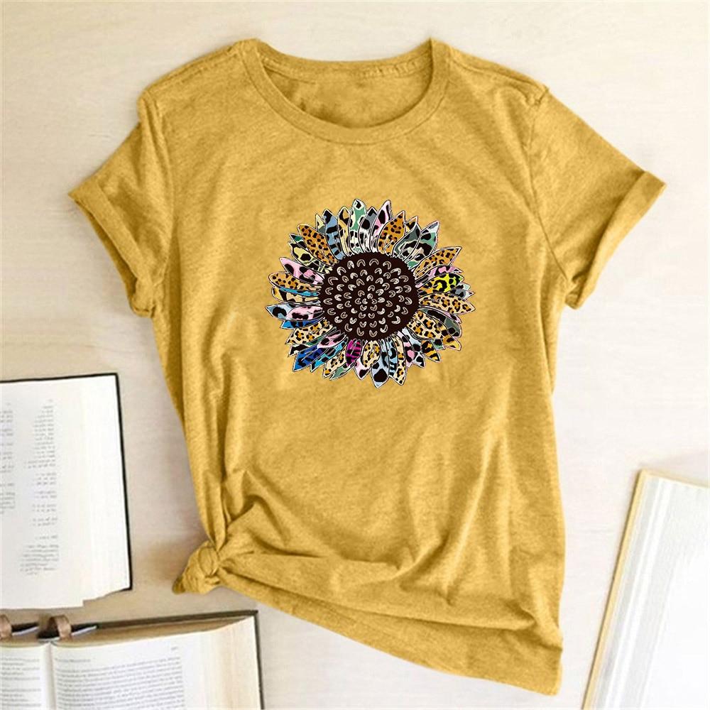 Sunflower Printing T Shirt Women Short Sleeve Summer T Shirt Vintage Flowers Graphic Tees Blusas Mujer De Moda 2020 Verano