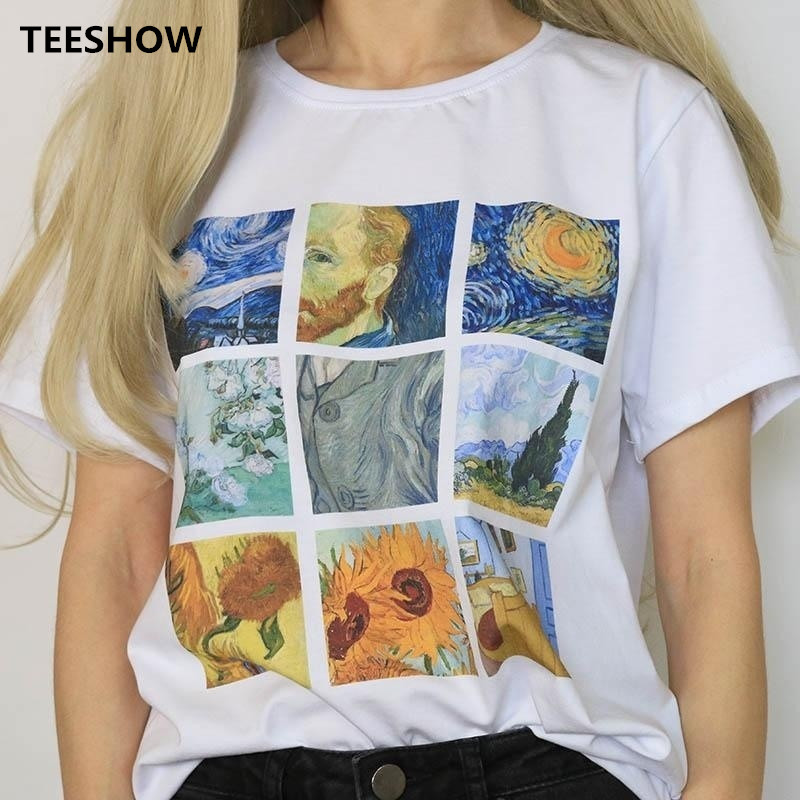 Van Gogh Art Oil Painting Lattice Printed T Shirt Women Casual Short Sleeve Tops Tee Female Summer Harajuku Women T-shirt