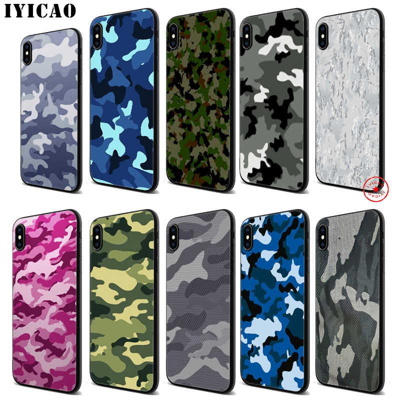 IYICAO الجيش كامو نمط لينة الأسود سيليكون حقيبة لهاتف أي فون 11 برو Xr Xs ماكس X أو 10 8 7 6 6S زائد 5 5s SE