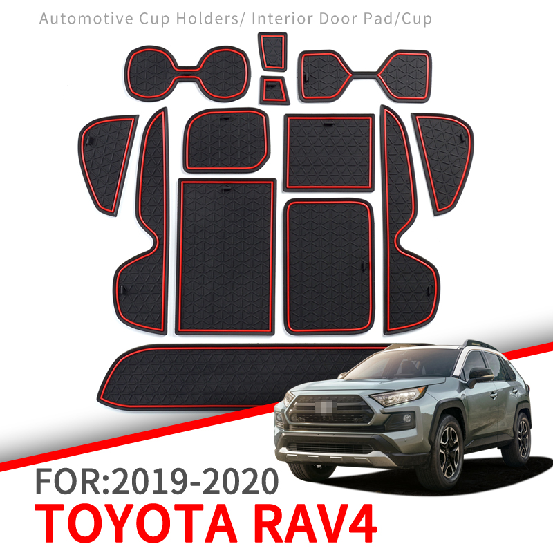 Anti-Slip Mat For Phone Gate Slot Mats Cup Rubber Pads Rug For Toyota RAV4 2019 2020 XA50 RAV 4 50 Car Stickers Accessories