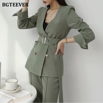 BGTEEVER Elegant Women Blazer Suit Autumn Office Ladies Pant Suits V-neck Belted Blazer & Suit Pants 2020 Work Wear Female Sets 1