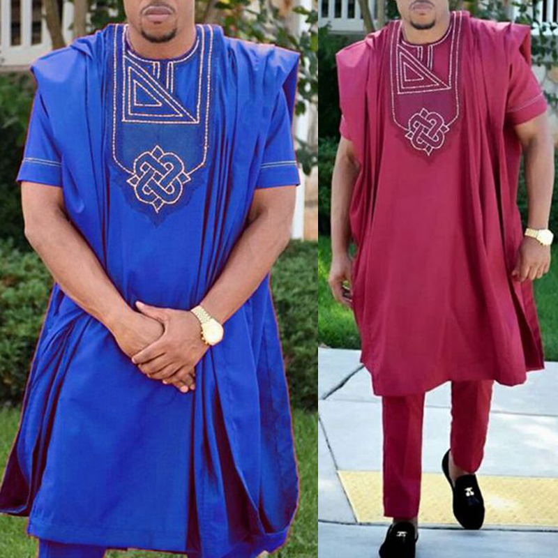 No Hat 2019 Dashiki Embroidery African Men Clothes Riche Bazin Mens Suit Tops Shirt Pants 3 Pieces Set Plus Size   PH3062