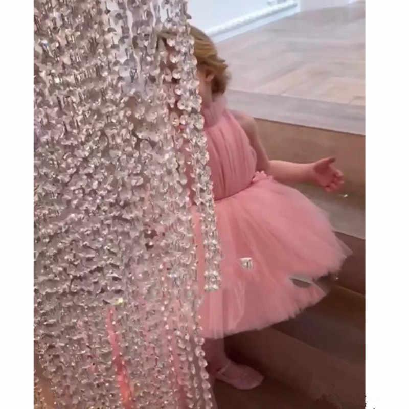진짜 이미지 결혼식을위한 사랑스러운 꽃의 소녀 드레스 높은 목 얇은 명주 그물 길이의 공 가운 소녀를위한 주니어 들러리 드레스